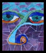 Mosaic Glass Art Posters - Nose - Fantasy Face No. 17 Poster by Gila Rayberg