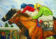 Horse Racing Framed Prints - Nose to Nose Framed Print by Jean Blackmer