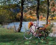 Old Bikes Posters - Nostalgia Autumn Poster by Leland Howard
