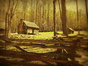 Log Cabin Art Prints - Nostalgia Print by Cindy Wright