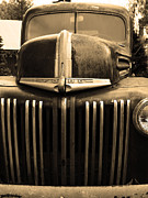 American Trucks Framed Prints - Nostalgic Rusty Old Ford Truck . 7D10281 . sepia Framed Print by Wingsdomain Art and Photography