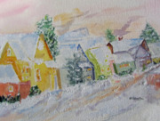 Chimneys Originals - Nostalgic Snow Scene by Barbara Pearston