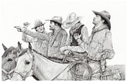 Cowboy Sketches Framed Prints - Not Again Framed Print by Jack Schilder