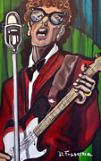 Guitar Strings Painting Originals - Not Fade Away-Buddy Holly by David Fossaceca