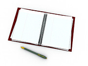 Blank Pages Framed Prints - Notebook And Pen Framed Print by Christian Darkin