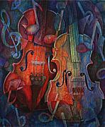 Violins Paintings - Noteworthy - A Viola Duo by Susanne Clark