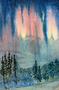 Pacific Northwest Painting Posters - Nothern Lights Country Poster by Karen A Robinson