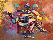 Figurative Tapestries Textiles - Nothin But Da Blues by Larry Poncho Brown