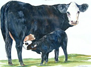 Black Angus Prints - Nothing But Mothers Milk for My Baby Print by Paula Robertson