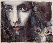 Watercolor Cat Paintings - Nothing Compares To You  by Paul Lovering