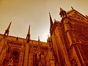 Gothic Architecture Posters - Notre Dame At Sunset Poster by Tony Grider