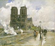 Rainy Street Paintings - Notre Dame Cathedral - Paris by Childe Hassam