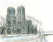 Notre Dame Cathedral Prints - Notre Dame Cathedral in March Print by Dominic White