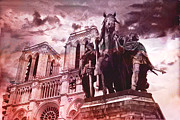 Paris Art Deco Prints Photos - Notre Dame Cathedral Sculpture Monument Landmark by Kathy Fornal