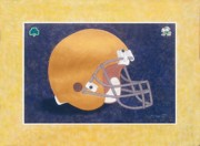 Football Helmets Posters - Notre Dame Fighting Irish Football Helmet Poster by Herb Strobino