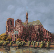Universities Painting Metal Prints - Notre-Dame Metal Print by Guido Borelli