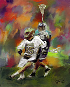 Lacrosse Paintings - Notre Dame Lacrosse by Scott Melby