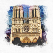 Cathedral Paintings - Notre Dame by Mo T