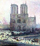 Carriages Painting Posters - Notre-Dame Paris Poster by Maximilien Luce