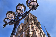 Lamp Post Prints - Notre Dame Tower Print by Jon Berghoff