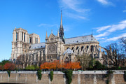 Catherdral Prints - Notre Dame Welcomes Fall Print by Chris Rigamer