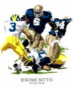 College Football Digital Art Posters - Notre Dames Jerome Bettis Poster by David E Wilkinson