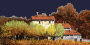 Blue Posters - Notte In Campagna Poster by Guido Borelli