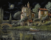 Lake Paintings - Notte Nera by Guido Borelli