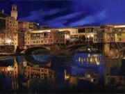 Gold Framed Prints - Notturno Fiorentino Framed Print by Guido Borelli