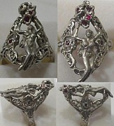 Nude Jewelry Originals - Nouveau stle lady ruby ring by Michelle  Robison