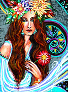 Turquoise Stained Glass Painting Prints - Nouveau Window Print by Kimberly Van Rossum