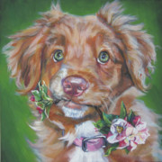 Apple-blossom Paintings - Nova Scotia duck Tolling Retriever puppy by Lee Ann Shepard