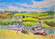 Nova Drawings - Nova Scotia Fishing Boats by Lessandra Grimley