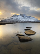 Nordic Countries Prints - Novatinden Mountain And Skoddeberg Lake Print by Arild Heitmann