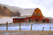 Snow Digital Art - November Barn by Ron Jones