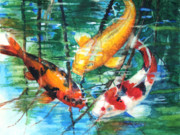 Red Tapestries Textiles Originals - November Koi by Patricia Allingham Carlson