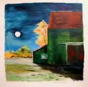 Autumn Landscape Drawings - November Moon Rising by John  Williams