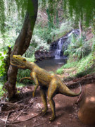 Dinosaur Illustrations - Novenator Near Waterfalls by Frank Wilson