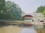 Covered Bridge Painting Metal Prints - Now and Then Metal Print by C Robert Follett
