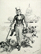 Now For A Round-up Uncle Sam Gathering Print by Everett