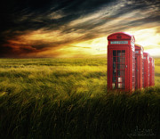 Photoshop Cs5 Digital Art Posters - Now Home to the Red Telephone Box Poster by Lee-Anne Rafferty-Evans