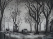 Graveyard Drawings - Now I lay me down to sleep by Carla Carson
