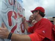 Phillies Art Paintings - Now Sold  Utley Signing The Original  by Sports Art World Wide John Prince