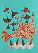 Indian Tribal Art Paintings - Npt 03 Dinosaur Bird by Narmada Prasad Tekam