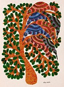 Gond Art Painting Originals - Npt 10 by Narmada Prasad Tekam