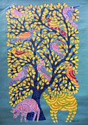 Gond Tribal Art Painting Originals - Npt 39 by Narmada Prasad Tekam