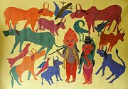 Indian Tribal Art Paintings - Ns 29 by Nankusia Shyam