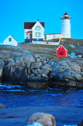 Nubble Light Framed Prints - Nubble at Twilight Framed Print by Catherine Reusch  Daley
