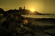 Sunrise Lighthouse Framed Prints - Nubble Burst Framed Print by Emily Stauring