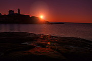 Maine Lighthouses Framed Prints - Nubble Dawning Framed Print by Emily Stauring